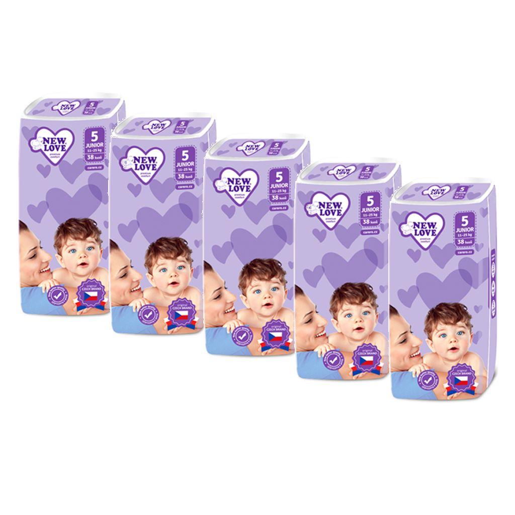 MEGAPACK Dětské jednorázové pleny New Love Premium comfort 5 JUNIOR 11-25 kg 5x38 ks - bílá