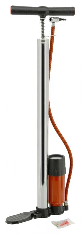 Hustilka ruční - 500 x 32 mm, CHROM s manometrem