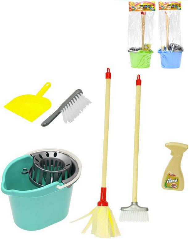 Malá uklízečka sada úklidová kbelík s mopem a doplňky - 3 barvy