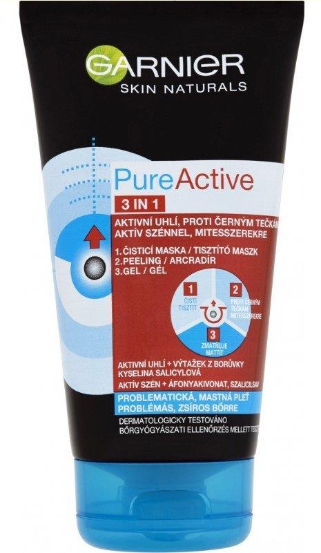 Garnier Skin Naturals Pure Active 3v1 aktivní uhlí proti černým tečkám, 150 ml