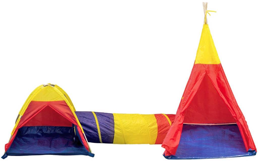 Adventure tent set 2 dětské stany s prolézacím tunelem 340x112x135cm