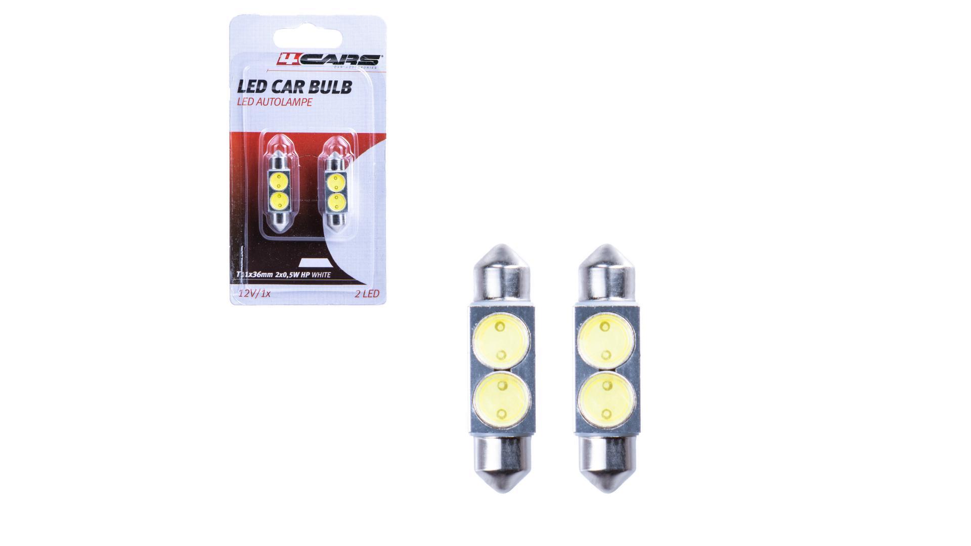 4CARS HQ sada LED žárovek T11X36/ 2X0.5W HP bílá