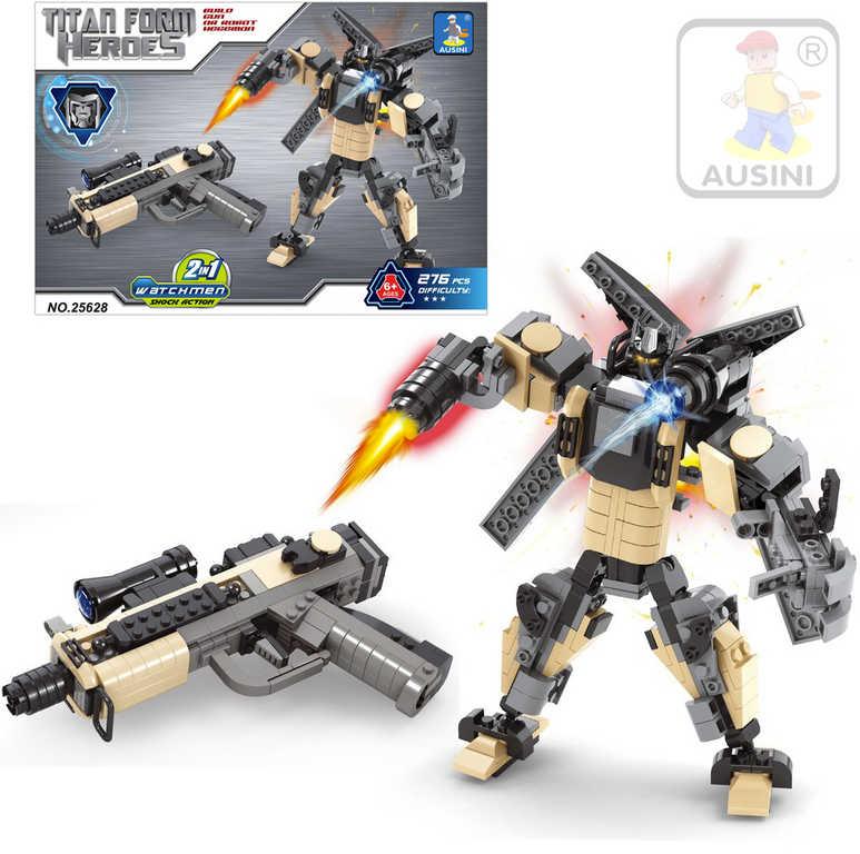 AUSINI Stavebnice HEROES 2v1 Robot / Pistole sada 276 dílků plast