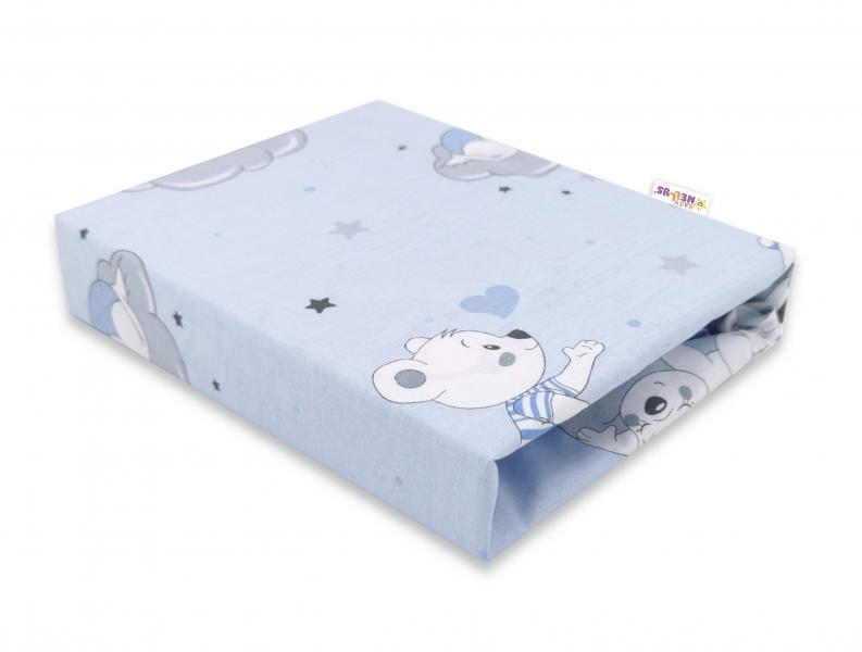 baby-nellys-detske-bavlnene-prosteradlo-do-postylky-mracek-modre-140-x-70-cm-140x70