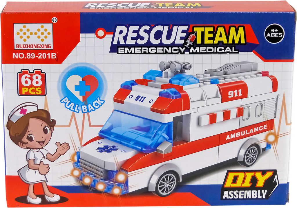 Stavebnice auto sanitka ambulance set 68 dílků na baterie Světlo Zvuk