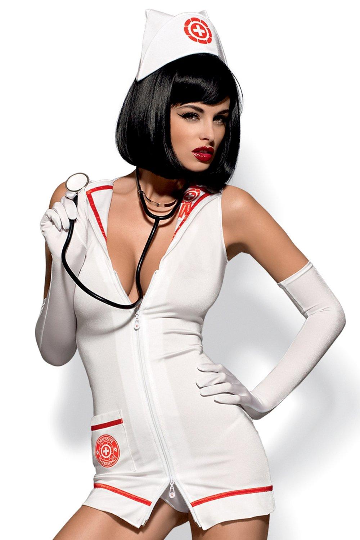 Erotický kostým Emergency dress stetoskop - Bílá/S/M
