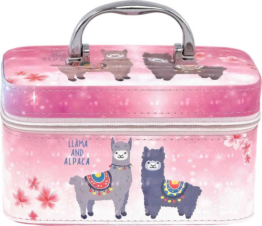 Kufřík dětský kosmetický lamy se zrcadlem na zip růžový pro holčičky