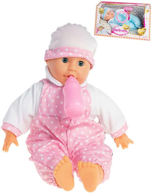 Baby panenka Bambolina Amore miminko set s lahvičkou s melodiemi na baterie Zvuk