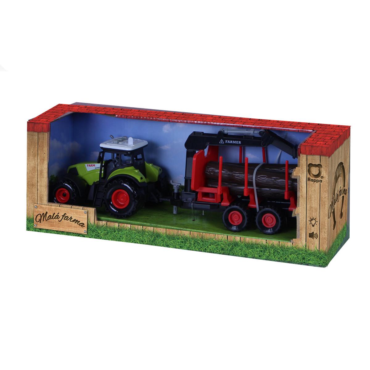 Traktor plastový se zvukem a světlem s vlečkou a chapadlem