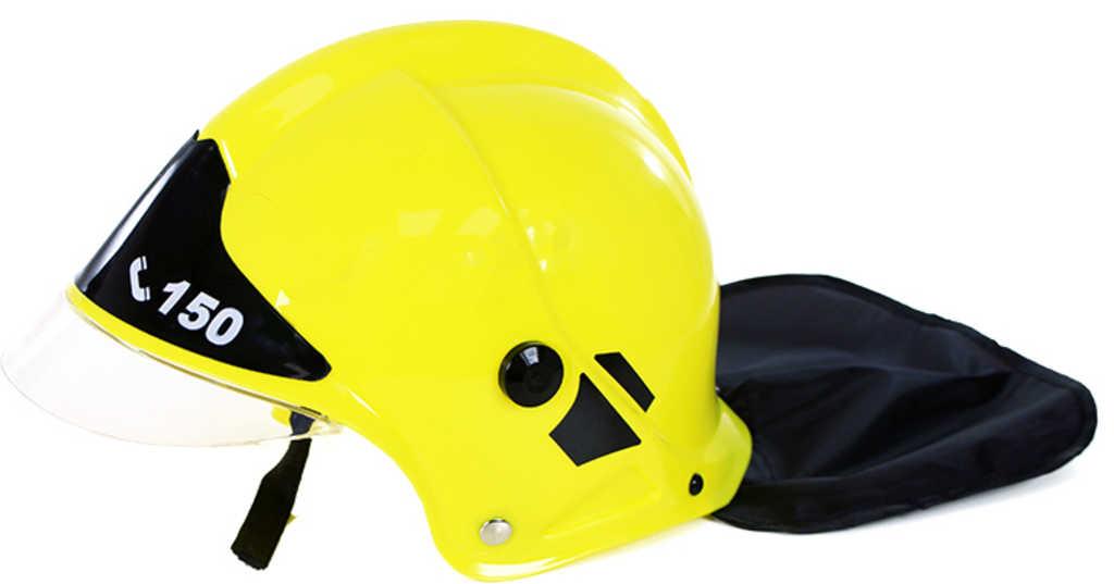 Helma hasičská žlutá dětská přilba na hlavu s ochranným krytem malý hasič