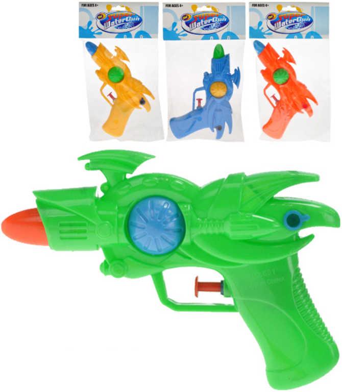 Pistole na vodu dětská 17cm plastová 4 barvy v sáčku