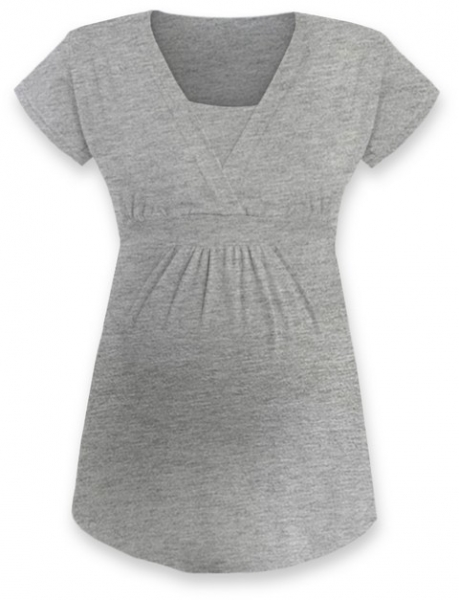 Kojící, těhotenská tunika ANIČKA krátký rukáv - šedý melír