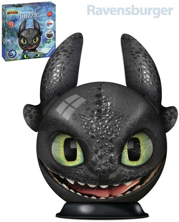 RAVENSBURGER Puzzle 3D puzzleball Jak vycvičit draka 3 Bezzubka 72 dílků
