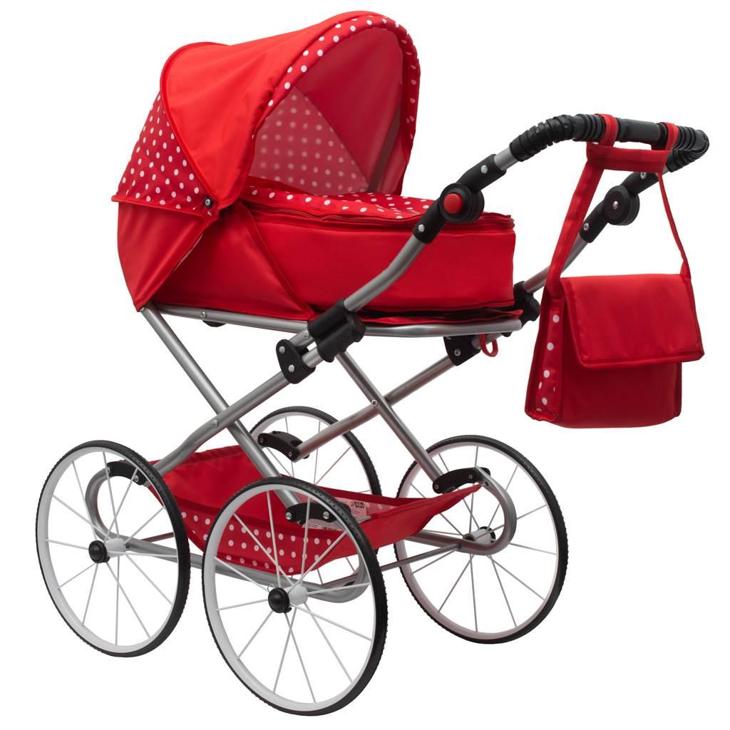 Dětský Retro kočárek pro panenky 2v1 New Baby - Magdalena červený s puntíky - červená