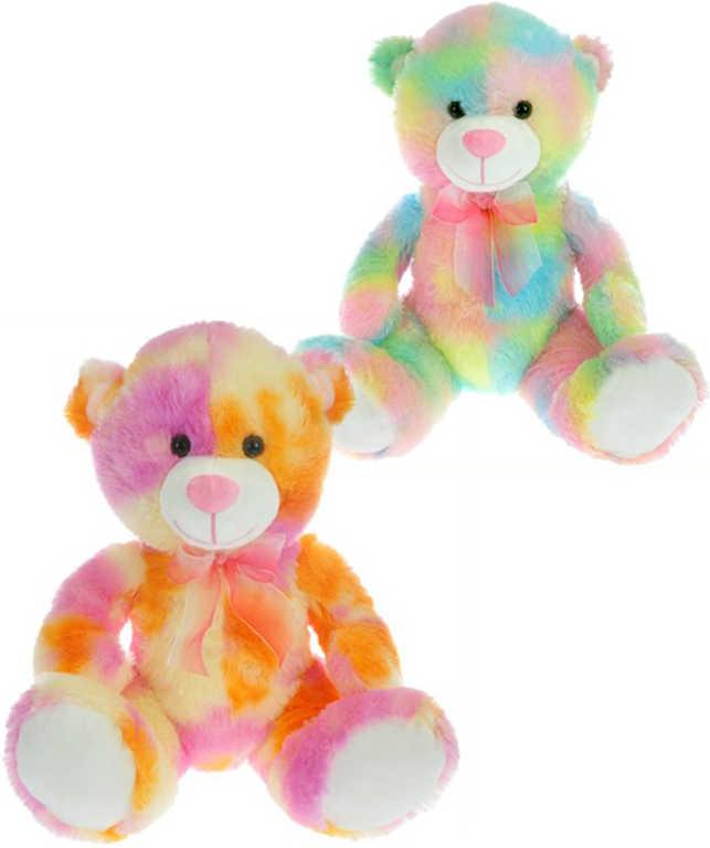 PLYŠ Medvěd sedící 40 cm duhový s mašlí - 2 barvy