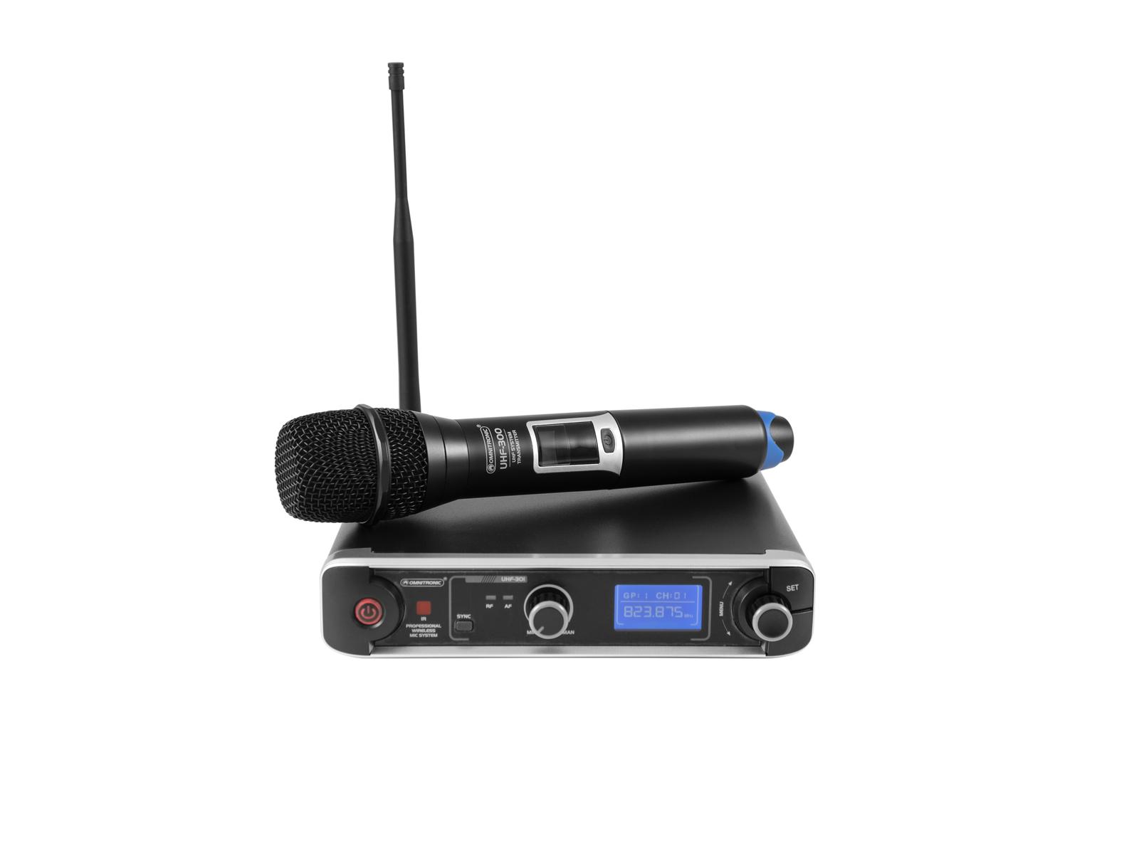 Omnitronic UHF-301, 1-kanálový bezdrátový mikrofonní set 823-832/863-865 MHz