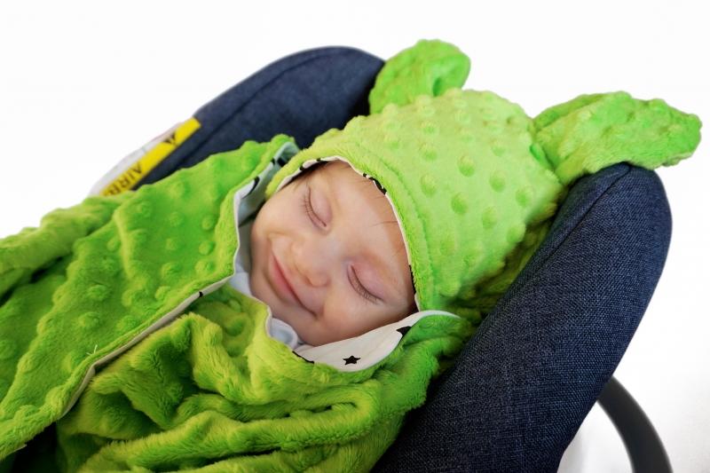 Baby Nellys Fusak, spacáček do autosedačky nebo kočárku s oušky, minky - sv. růžový