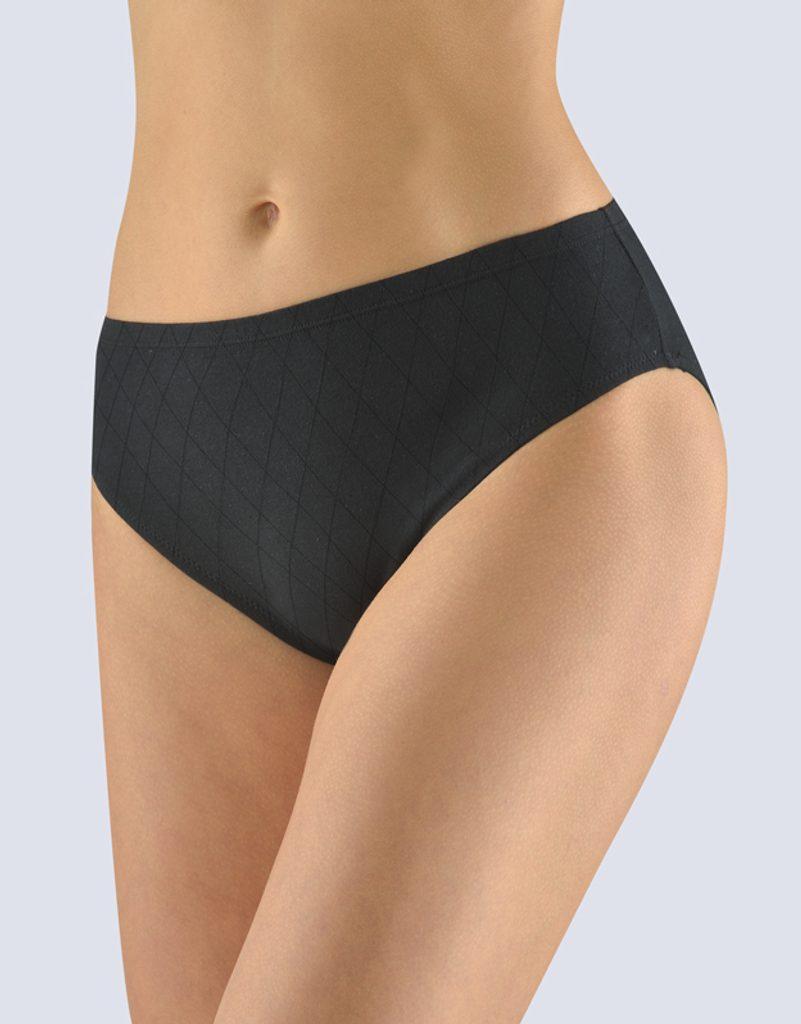 GINA dámské kalhotky klasické, širší bok, šité, jednobarevné 10225P - černá