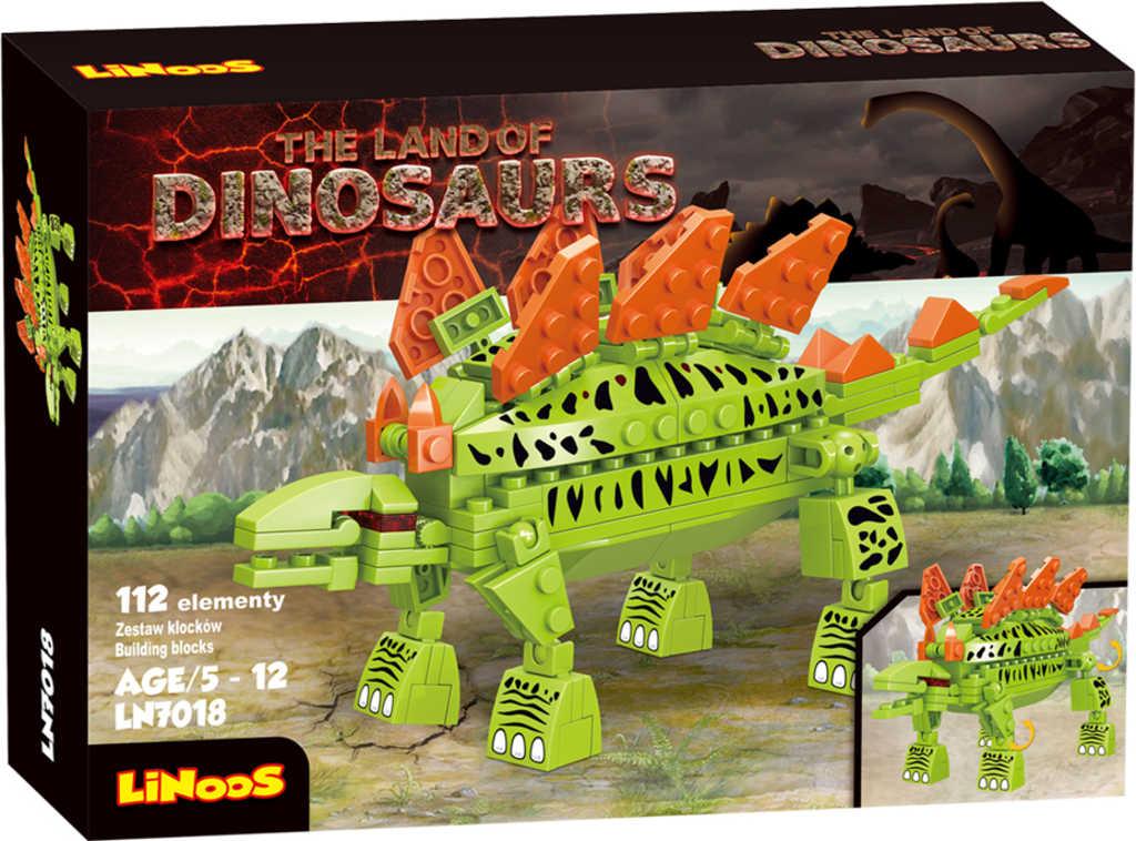 LiNooS Dinosaurus Stegosaurus 112 dílků plast STAVEBNICE