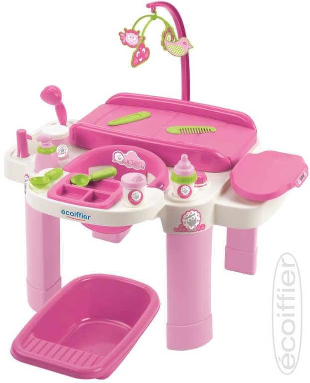 ECOIFFIER Baby přebalovací centrum velké set s židličkou a vaničkou pro panenku miminko