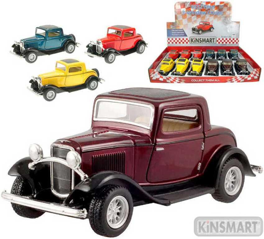 KINSMART Auto model 1:34 FORD 3 WINDOW COUPE kov PB 13cm 4 barvy