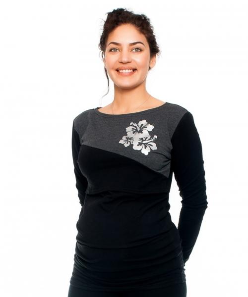 be-maamaa-tehotenske-kojici-triko-kvety-dlouhy-rukav-cerno-grafitove-vel-m-m-38
