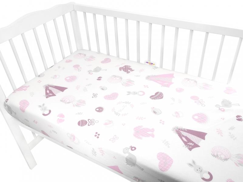 baby-nellys-detske-bavlnene-prosteradlo-do-postylky-new-love-baby-ruzove-140-x-70-cm-140x70