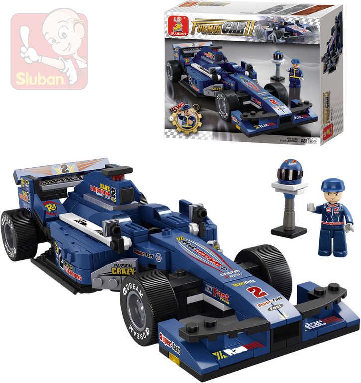 SLUBAN Stavebnice FORMULE 1 Závodní auto F1 modré set 257 dílků + 1 figurka plast
