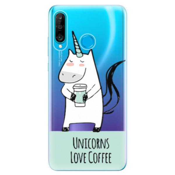 Odolné silikonové pouzdro iSaprio - Unicorns Love Coffee - Huawei P30 Lite