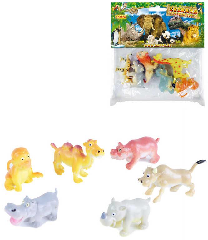 Zvířátka veselá divoká set 6ks figurky safari v sáčku 2 druhy plast