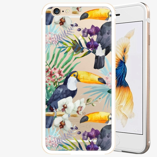 Plastový kryt iSaprio - Tucan Pattern 01 - iPhone 6/6S - Gold