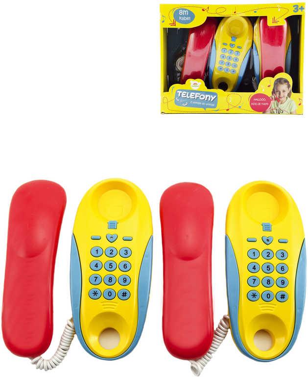 Telefony dětské pokojové set 2ks na baterie Zvuk plast