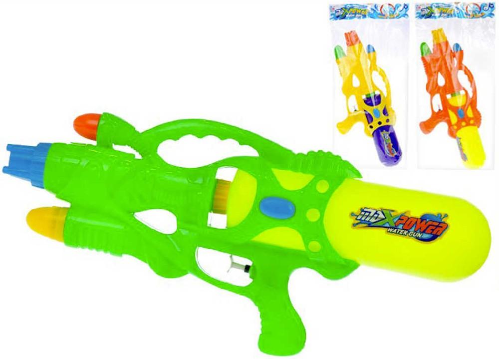 Pistole vodní barevná 45cm se zásobníkem na vodu různé barvy