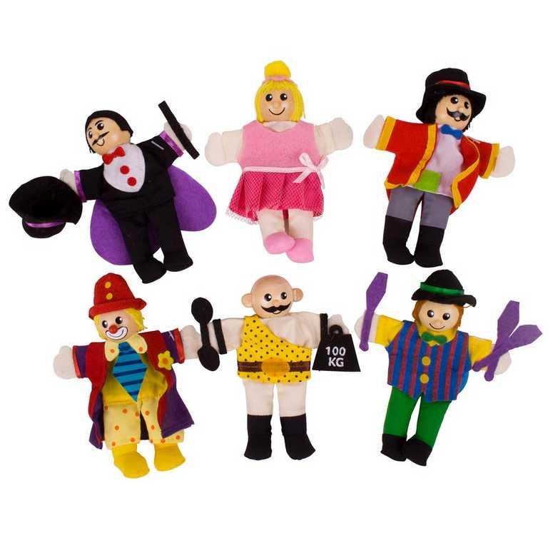 Bigjigs Toys Prstoví maňásci sada Cirkusoví baviči