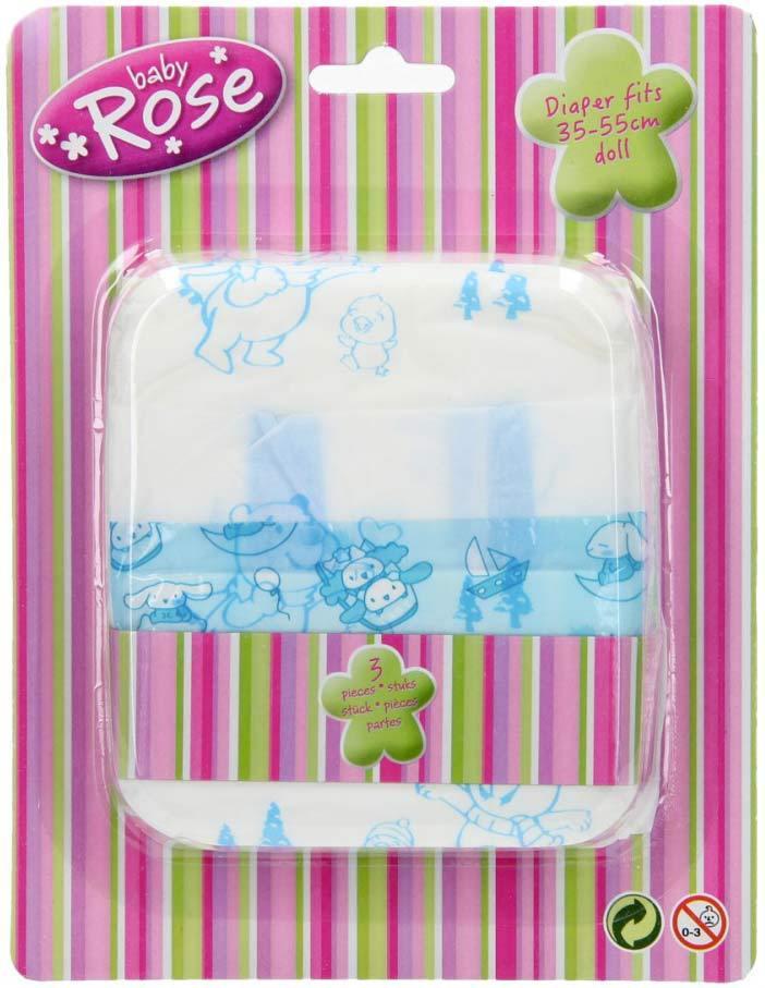 Plínky papírové pro panenku miminko (35-55cm) set 3 ks na kartě
