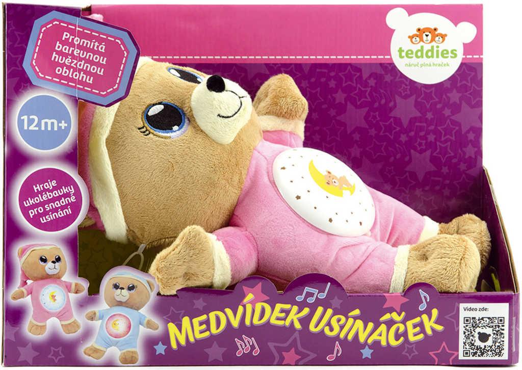 PLYŠ Baby usínáček medvídek 33cm růžový projektor na baterie Světlo Zvuk