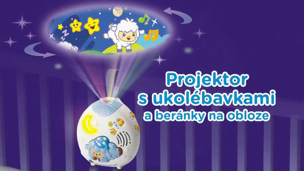 Baby projektor s ukolébavkami a zvuky přírody na baterie Světlo Zvuk pro miminko