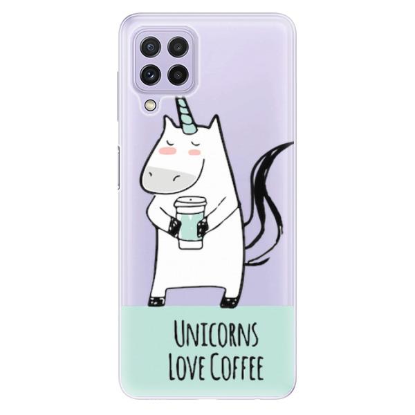 Odolné silikonové pouzdro iSaprio - Unicorns Love Coffee - Samsung Galaxy A22