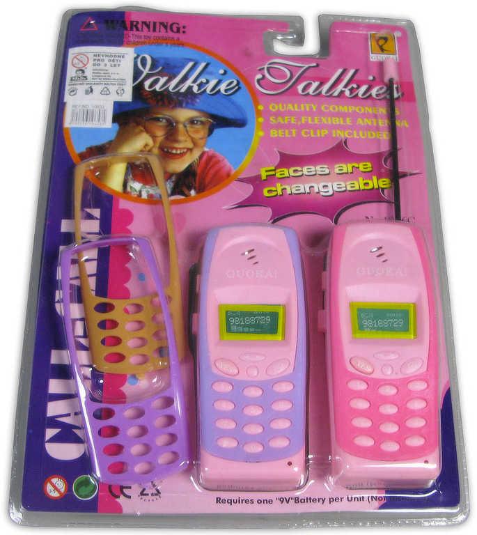 Vysílačka retro dětská holčičí set 2ks mobil + 2 náhradní kryty na kartě plast