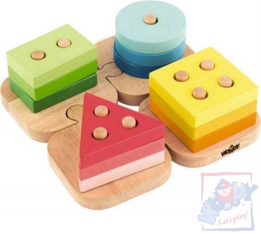 WOODY DŘEVO Baby puzzle tvary navlékací na podložce *DŘEVĚNÉ HRAČKY*