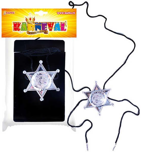 KARNEVAL Odznak Sheriff s hvězdou KARNEVALOVÝ DOPLNĚK
