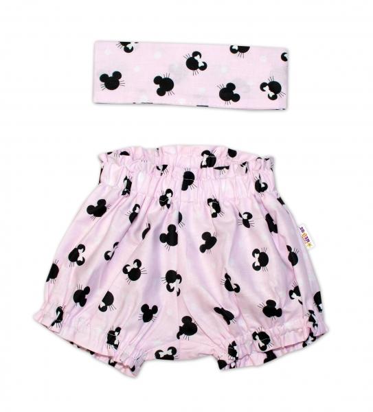 Bavlněné kraťásky s čelenkou Baby Nellys - Minnie růžové, vel. 1 - 4 roky - 1-4 roky
