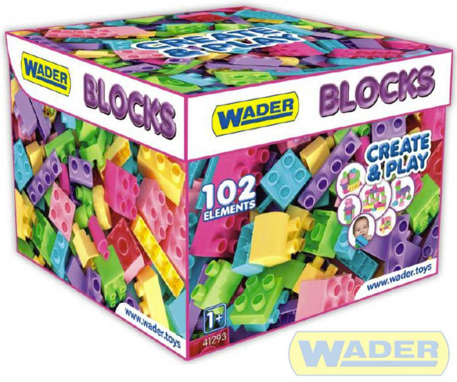 WADER Baby kostky plastové set 102ks stavebnice pro holčičky v papírové krabici