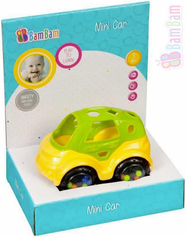 ET BAM BAM Baby autíčko 132 mini volný chod chrastítko pro miminko