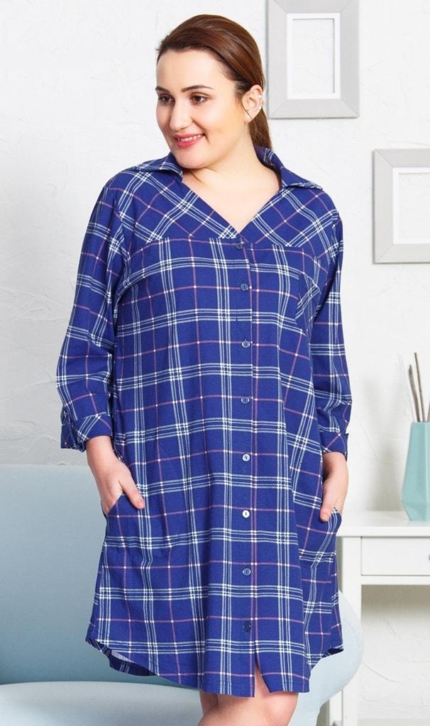 Dámské domácí šaty s tříčtvrtečním rukávem Vanda - modrá - 2XL