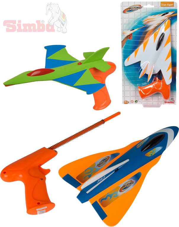 SIMBA Soft letadlo 27cm set s vystřelovací pistolí různé druhy na kartě