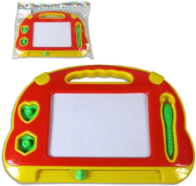 Dětská tabulka magnetická kreslicí 34x23cm set se 2 tiskátky v sáčku plast