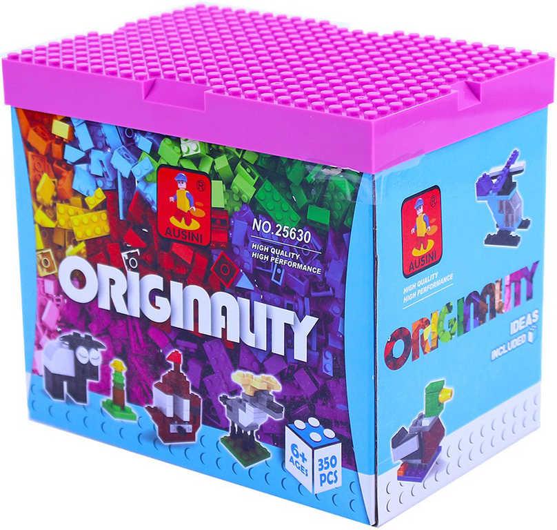 AUSINI Stavebnice plastová kostky sada 350 dílků s hrací deskou v krabici