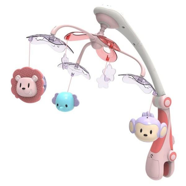 Kolotoč nad postýlku se světelným projektorem Baby Mix safari, Růžová