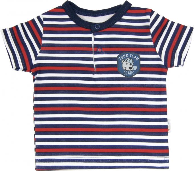 Polo tričko krátký rukáv Mamatti - Panda proužek - 68 (4-6m)